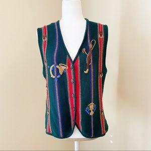 Susan Bristol Fox Hunt Sweater Vest - L